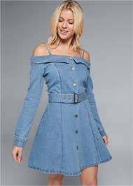 Cropped front view Button Front Denim Dress