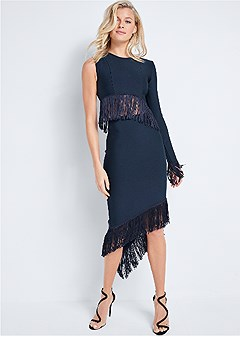 bandage fringe detail dress
