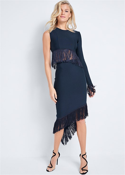 BANDAGE FRINGE DETAIL DRESS,HOOP DETAIL EARRINGS,ASYMMETRICAL STRAPPY HEELS