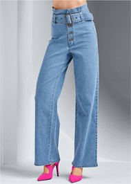 Waist down front view Belted Straight Leg Jeans