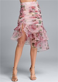 Waist down front view Floral Organza Skirt