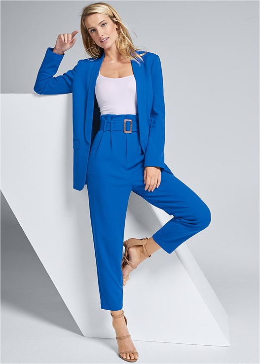 ELECTRIC BLUE SUIT SET,SEAMLESS CAMI,HIGH HEEL STRAPPY SANDALS,HOOP EARRINGS