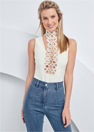 Cropped front view Lace Inset Bandage Bodysuit