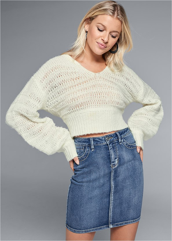 Relaxed Cropped Sweater,Color Mini Jean Skirt,Lucite Heel Mules