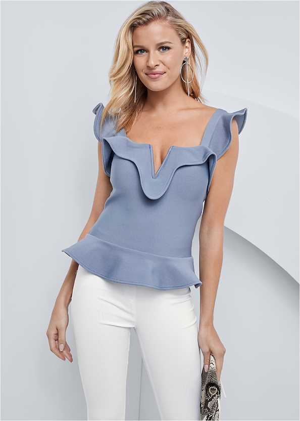 Ruffle Bandage Sweater,Mid Rise Slimming Stretch Jeggings,High Heel Strappy Sandals