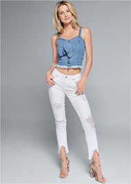 Full front view Cropped Denim Top