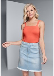 Front View Fringe Trim Denim Skirt
