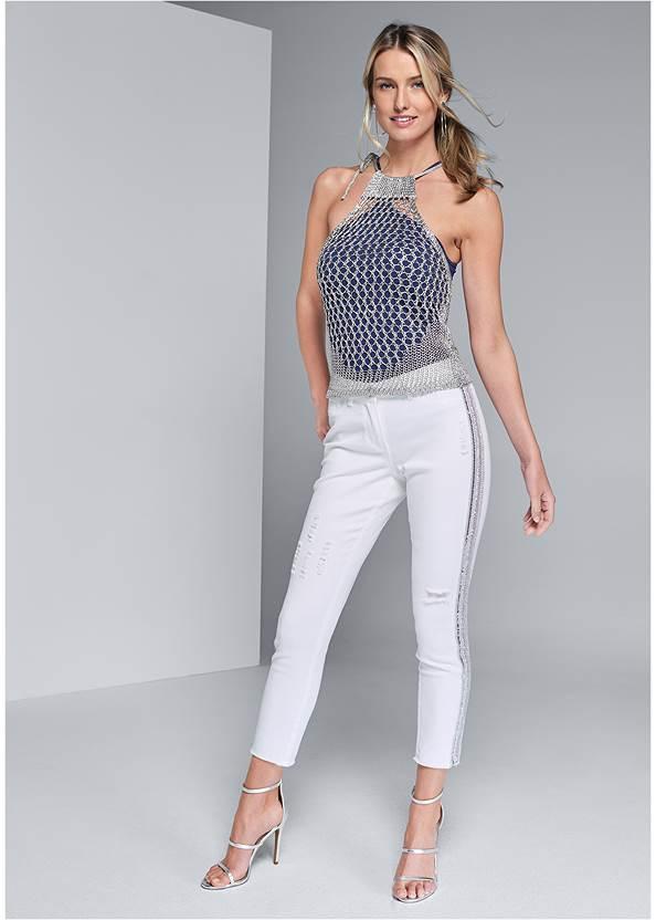 Beaded Side Stripe Jeans,Seamless High Neck Top,Hoop Detail Earrings,Fringe Crossbody