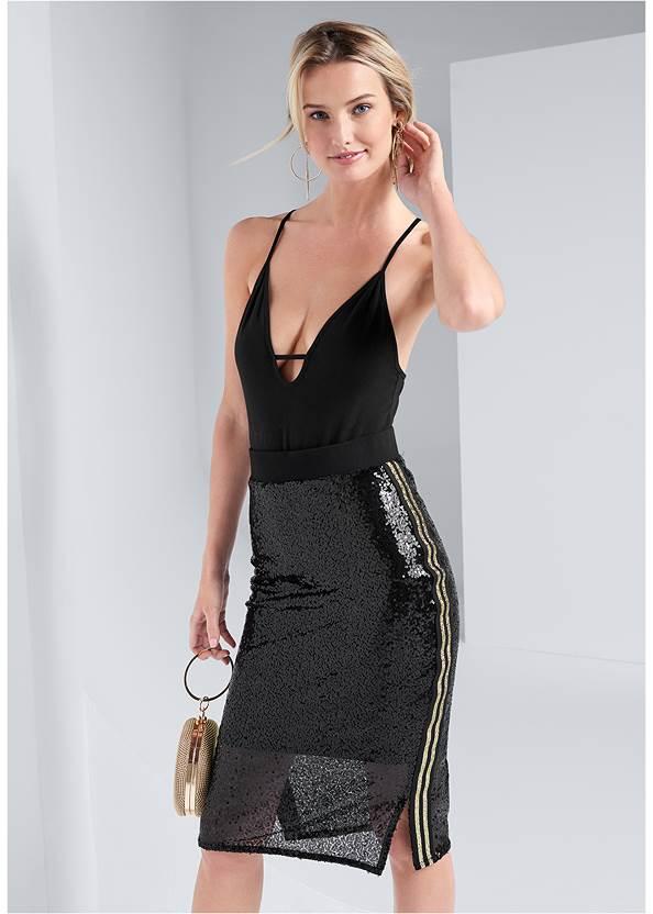 Sequin Midi Skirt,High Heel Strappy Sandals