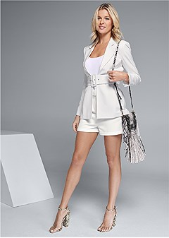 belted short suiting set