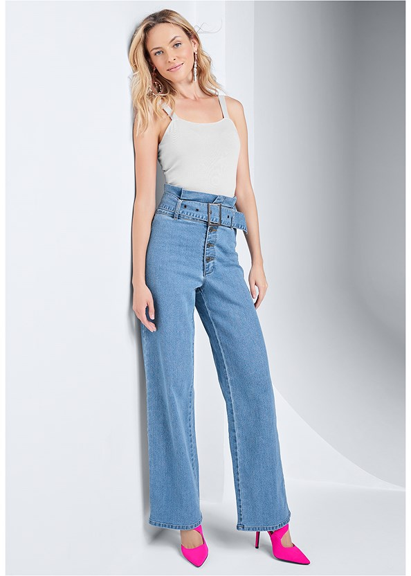 Belted Straight Leg Jeans,Square Neck Bodysuit,Casual Bootcut Jeans