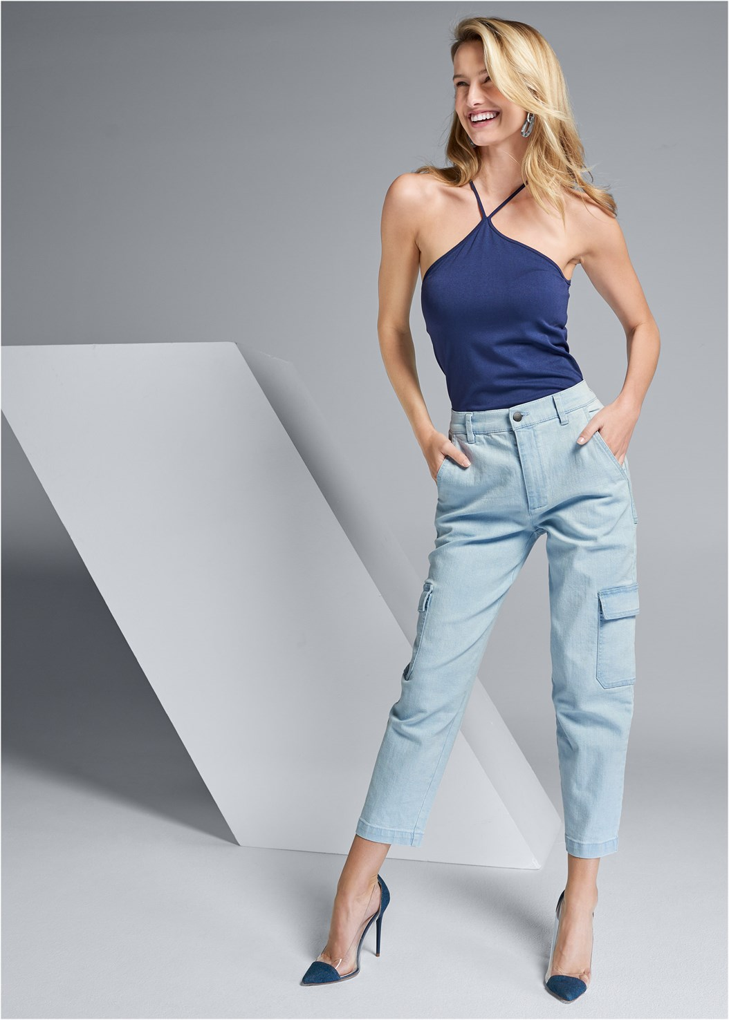 Denim Cargos,Seamless High Neck Top,Lucite Detail Heels