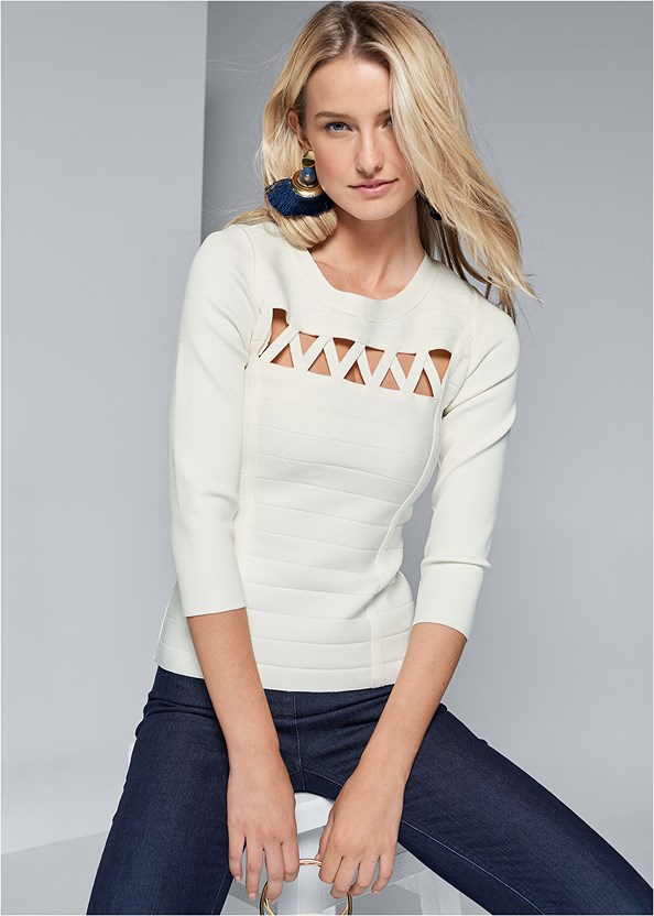 Cut Out Bandage Sweater,Mid Rise Slimming Stretch Jeggings,Lucite Detail Heels