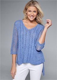 Front View High Low Open Knit Sweater