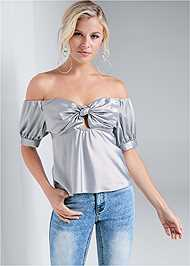 Cropped front view Metallic Keyhole Top