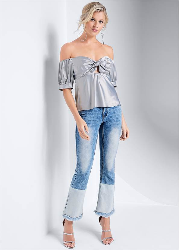 Full front view Metallic Keyhole Top