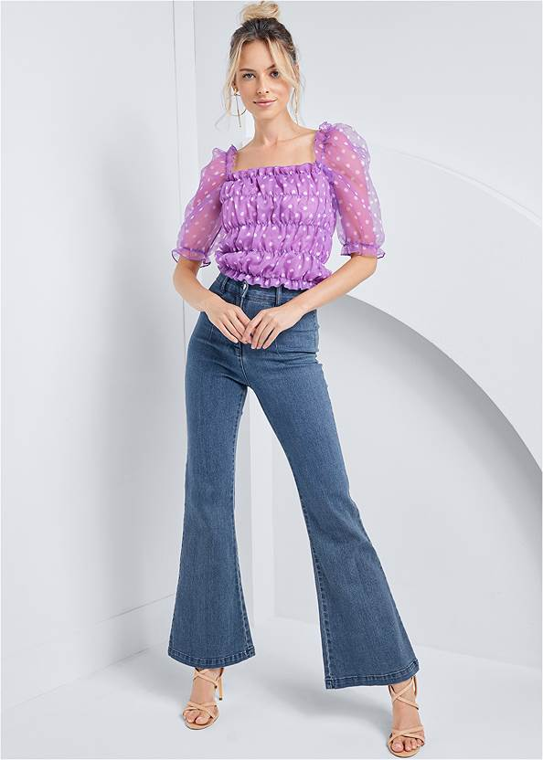 Full front view Organza Puff Sleeve Top