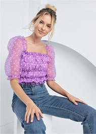 Cropped front view Organza Puff Sleeve Top