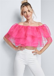 Cropped front view Tiered Organza Top