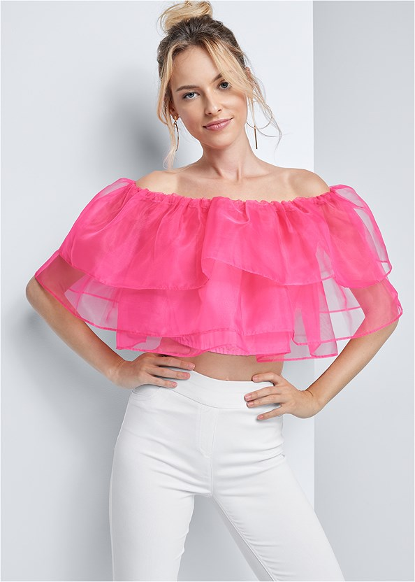 Tiered Organza Top,Mid Rise Slimming Stretch Jeggings,Embellished Lucite Heel