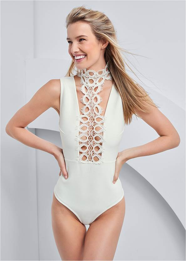 Detail  view Lace Inset Bandage Bodysuit