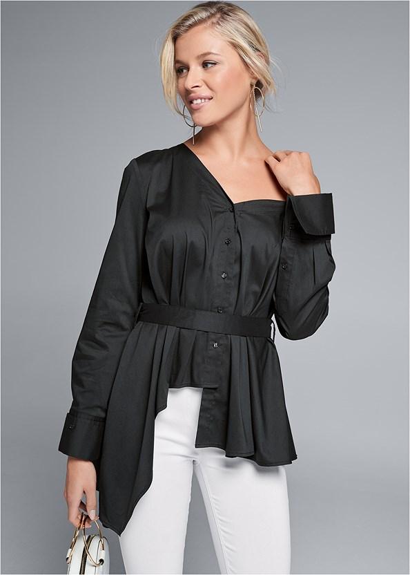 Asymmetrical Ruffle Top,Mid Rise Slimming Stretch Jeggings,Circle Ring Detail Handbag,Embellished Lucite Heel