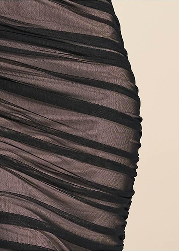 Alternate View Mesh Ruched Midi Dress