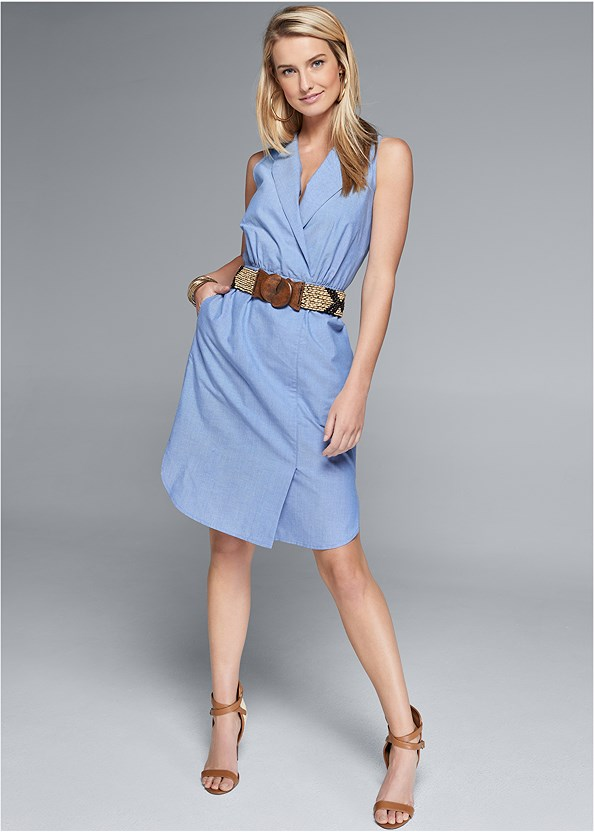 Sleeveless Collared Dress,Beaded Stretch Belt