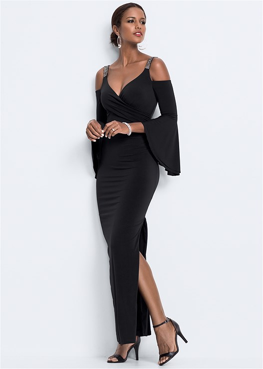 COLD SHOULDER LONG DRESS,CONFIDENCE FULL BODY SHAPER,EMBELLISHED STRAPPY HEEL