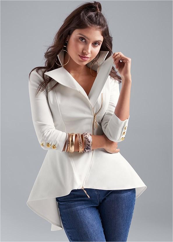 Ruffle Hem High Low Jacket,Mid Rise Color Skinny Jeans,Lucite Detail Print Heels,Lucite Detail Heels,Beaded Crossbody,Studded Belt Bag