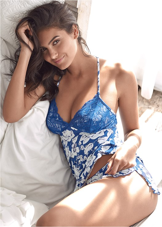 LACE PRINT CAMI SLEEP SET