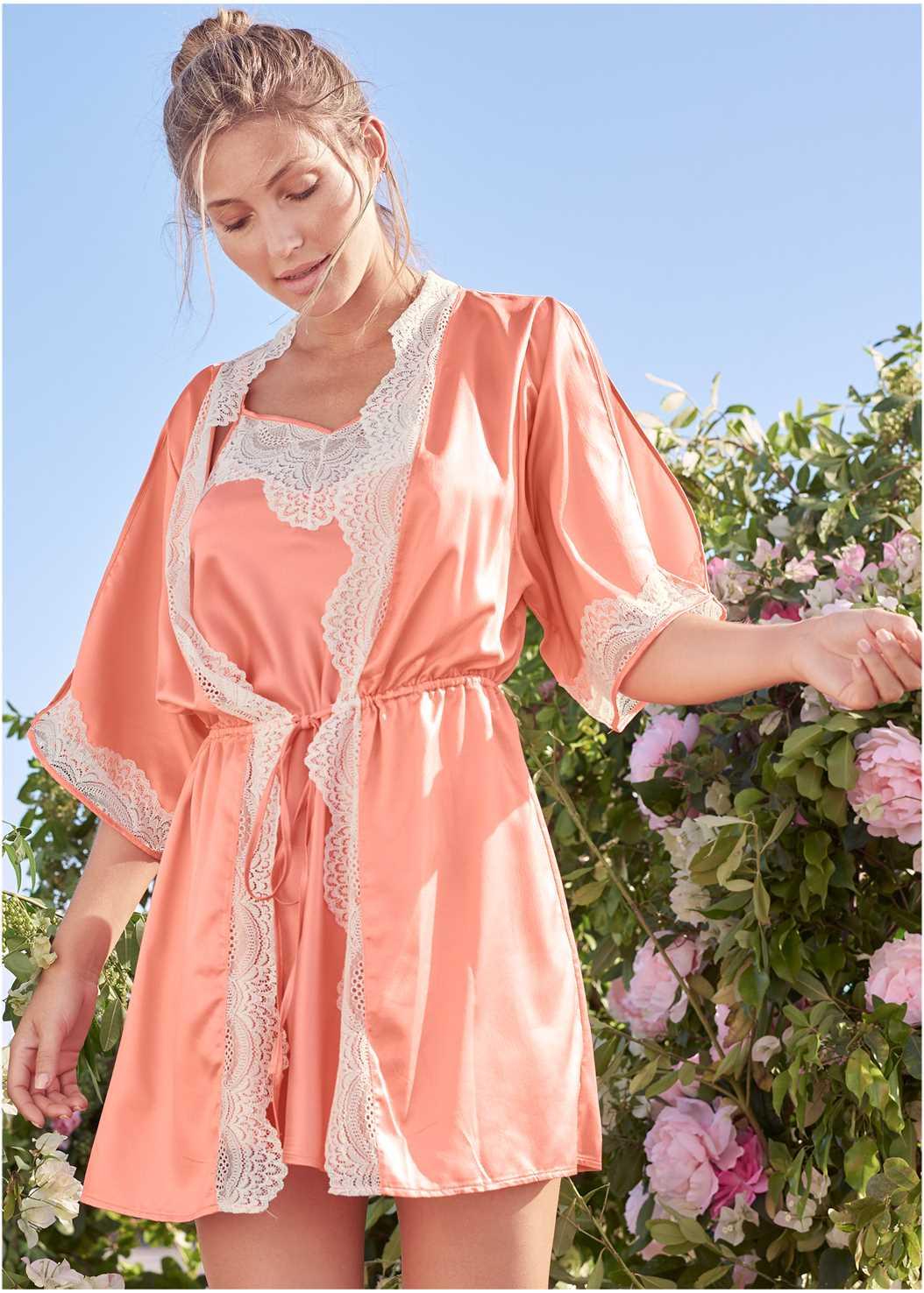 Lace Detail Kimono,Push Up Bra Buy 2 For $40