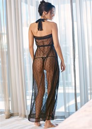 Cropped back view Long Swiss Dot Robe