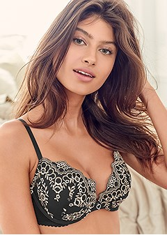 embroidered push up bra