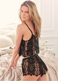 Cropped back view Sexy Lace Short Set