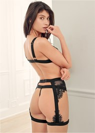 Cropped back view Lace Bra Panty Garter Set