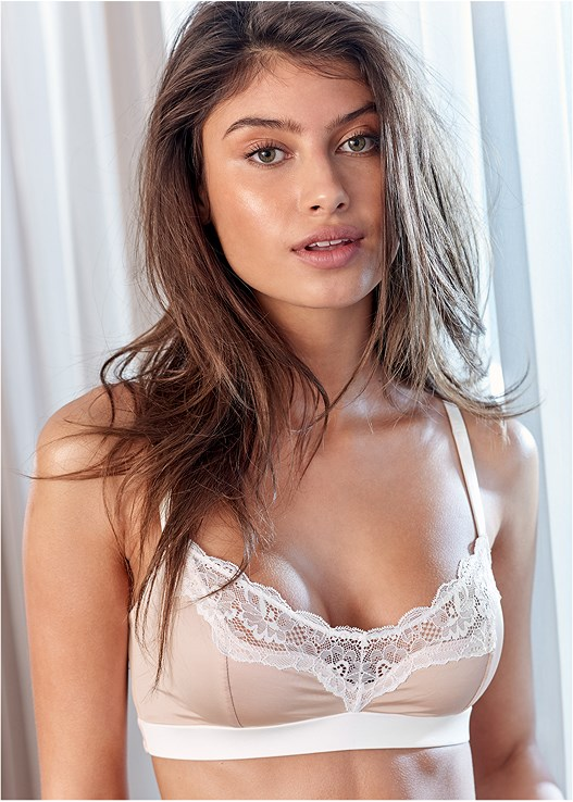 LACE TRIM TRIANGLE BRALETTE,LACE TOP BRIEF 5 FOR $29