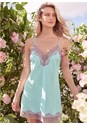 Cropped front view Satin And Lace Detail Chemise