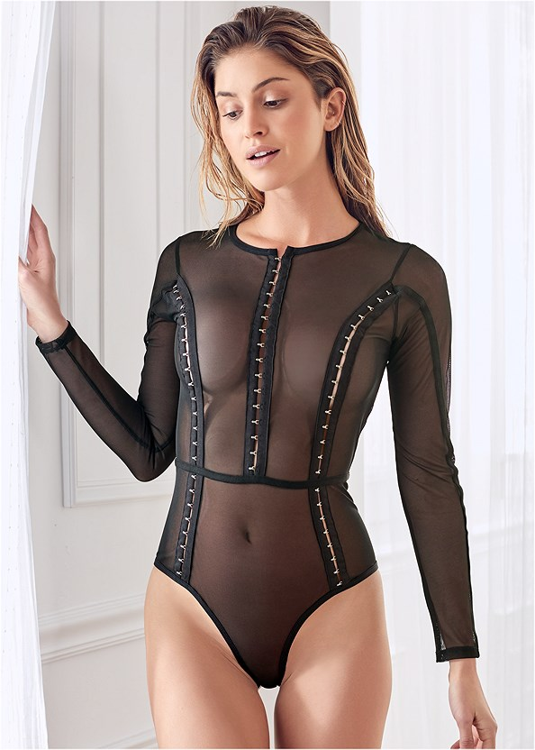 Stretch Longsleeve Bodysuit,Studded Strappy Heels