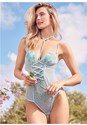 Cropped front view Floral Sheer Bodysuit