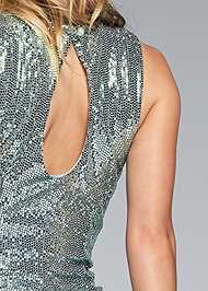Detail back view Ruched Sparkle Dress