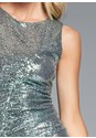 Detail front view Ruched Sparkle Dress