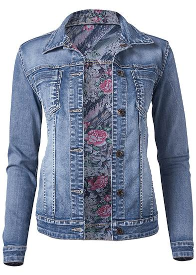 Plus Size Reversible Denim Jacket