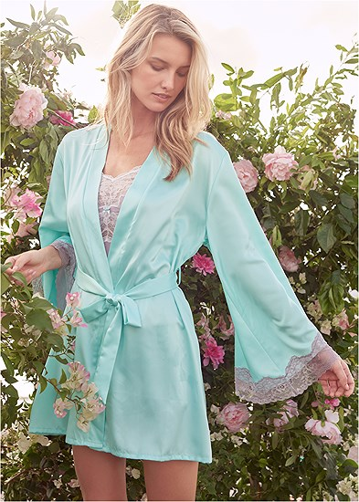 Satin And Lace Detail Robe
