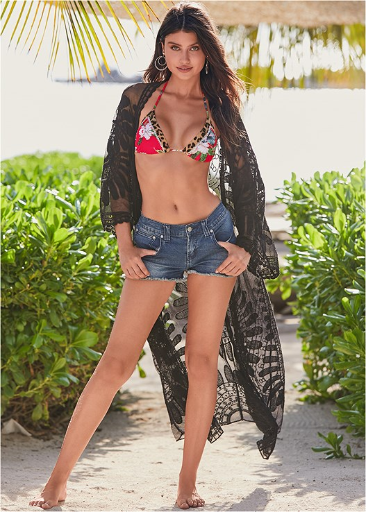 LACE KIMONO COVER-UP,TASSEL SIDE TIE BOTTOM,GODDESS ENHANCER PUSH UP,SCOOP FRONT BIKINI BOTTOM,CUT OFF JEAN SHORTS,BEADED HOOP EARRINGS