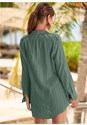 Back View Button Down Shirt Cover-Up