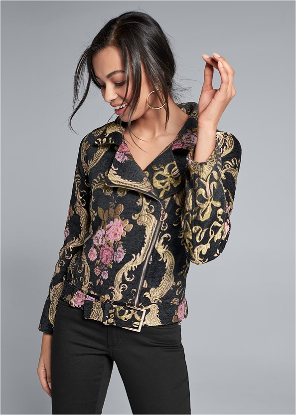 Brocade Jacket,Lace Cami,Kissable Convertible Bra,Mid Rise Color Skinny Jeans,Peep Toe Booties