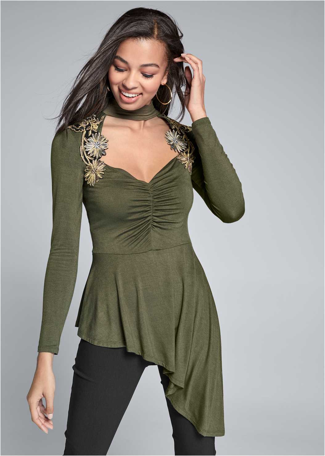 Lace Mock Neck Top,Mid Rise Slimming Stretch Jeggings