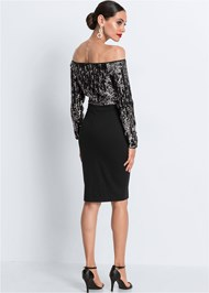 Full back view Sequin Detail Bodycon Dress