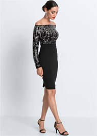 Full front view Sequin Detail Bodycon Dress